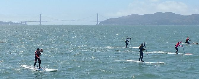 Downwind Stand Up Paddleboarding on  San Francisco Bay