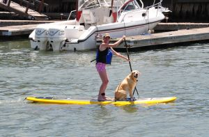 paddler and dog