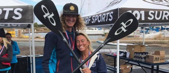 SUP Run Paddle Race winners Madeleine King and Barry Wicks