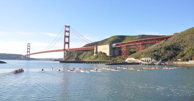 Outrigger Canoes and Surfskis at the start of the Long Strange Trip Paddle Race