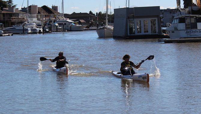 Epic Surfski's locked in battle at the finish line