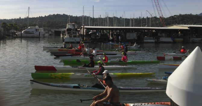 Paddle racers at the ready