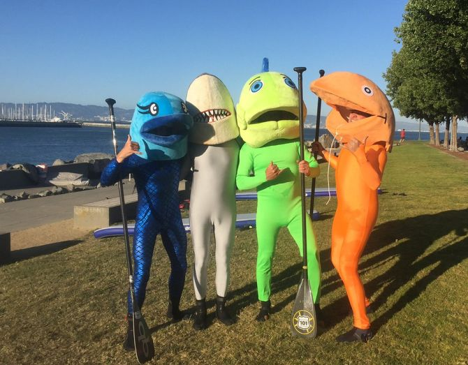 SF Giants SUP Racing in McCovey Cove - Fish Costumes