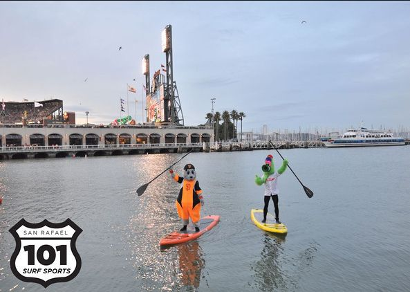 Lou Seal and Phillie Phanatic Stand Up paddleboading