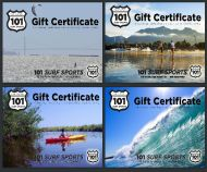 Stand Up Paddleboarding, Windsurfing, Kiteboarding, Surfing, and Kayaking Gift Certificates