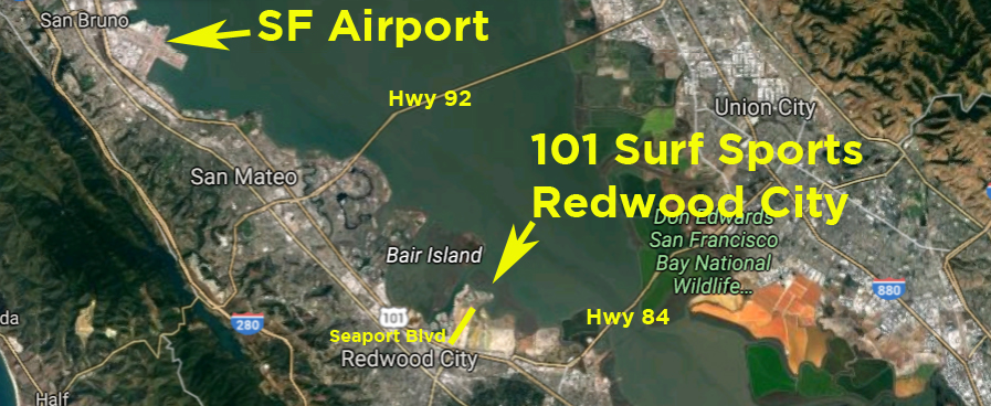 101 Surf Sports in Redwood City Map