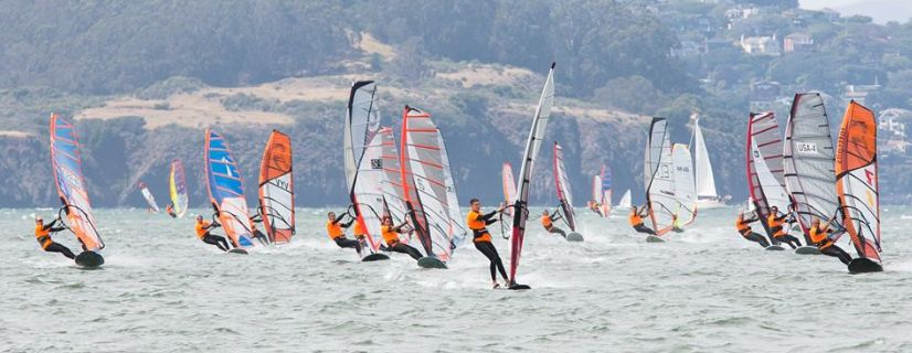 Slalom windsurfing racing on San Francisco Bay