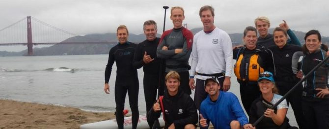 jeff clark and zane schweitzer SUP with Filip Andersson at the Golden Gate Bridge August 2016