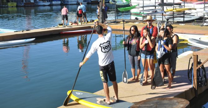 Dominican University clean up by paddleboard