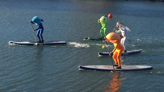 San Francisco Giants Paddleboard Racing in McCovey Cove - Fish Costumes